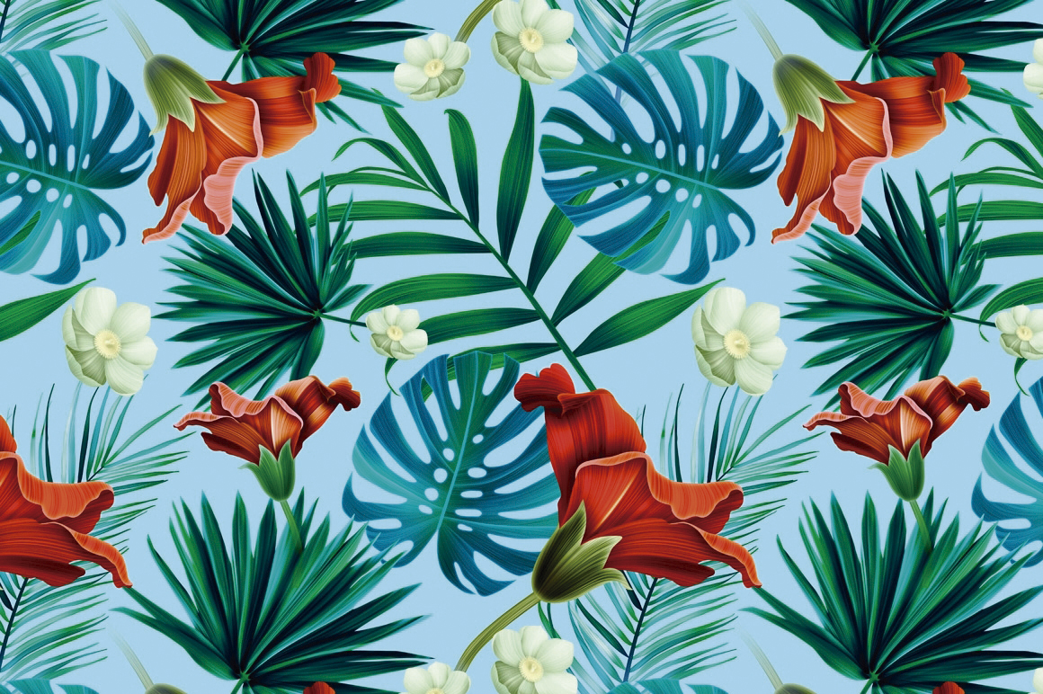 Tropical Pattern Wallpaper Tropical Pattern Mystel 13999 1160x77